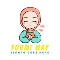 hijab youtuber muslim woman avatar logo โลโก้ template