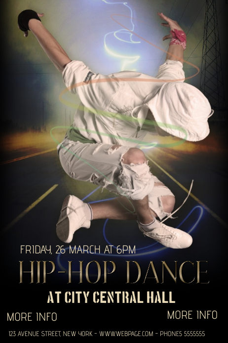 hip.hop dance classes or event flyer template