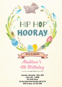 Hip hop hooray easter invitation A6 template