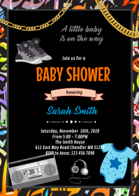 Hiphop baby shower theme invitation