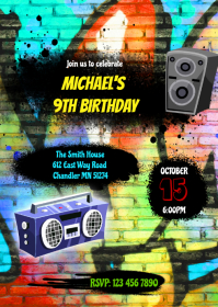 Hiphop birthday party invitation A6 template