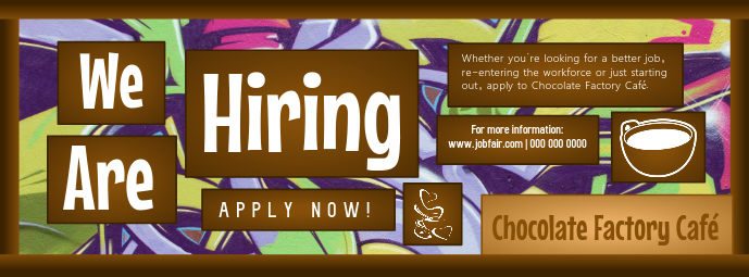 Hiring Now Chocolate Factory Facebook Cover Photo Facebook-coverfoto template
