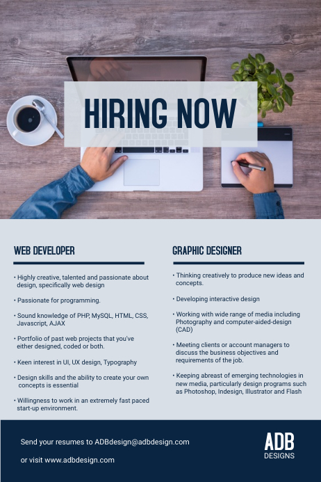 Hiring Now Internship Flyer Template
