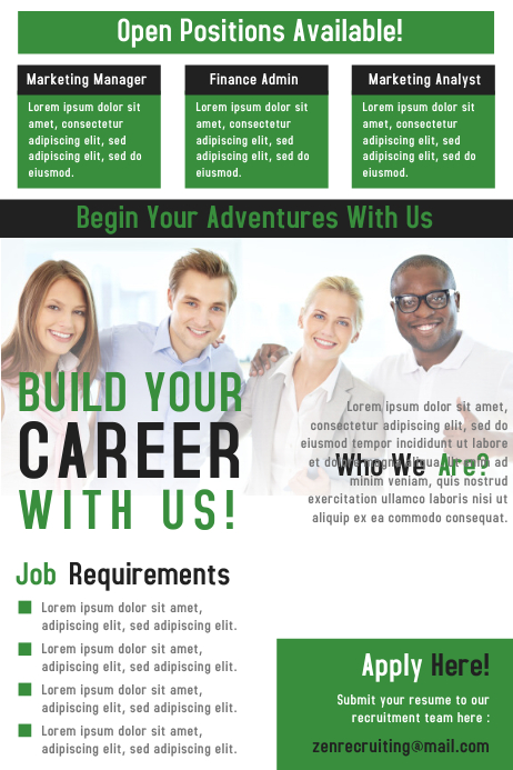Hiring or job vacancy poster and flyer design template