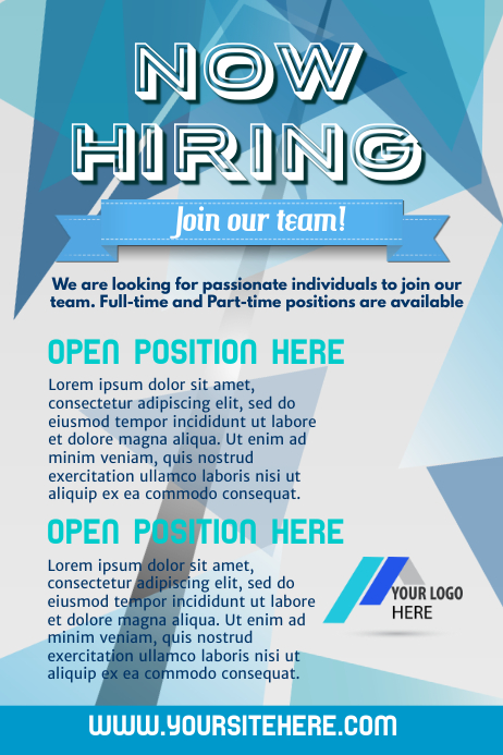 Now hiring restaurant poster template