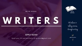 HIRING WRITERS FLYER Digital na Display (16:9) template