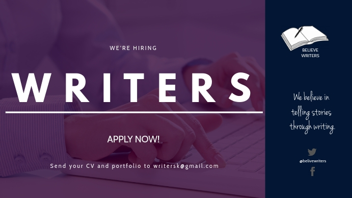 HIRING WRITERS FLYER Tampilan Digital (16:9) template