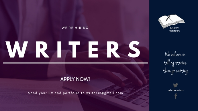 HIRING WRITERS FLYER 数字显示屏 (16:9) template