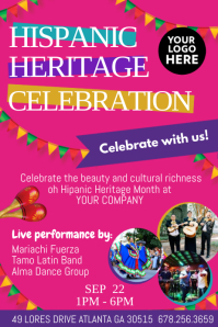 Hispanic Heritage Celebration party Poster template