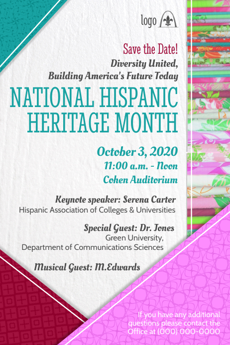 Hispanic Heritage Conference Poster โปสเตอร์ template