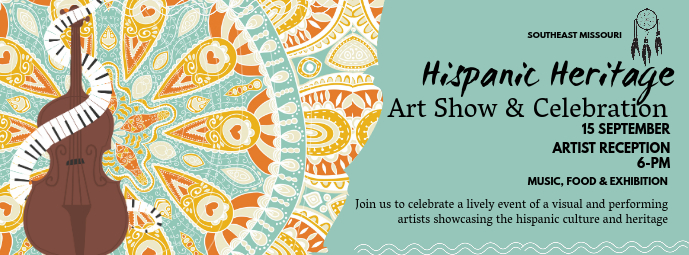 Hispanic Heritage Month Art Exhibition Banner Portada de Facebook template