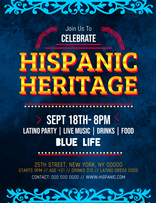 Hispanic Heritage Month Celebration Flyer
