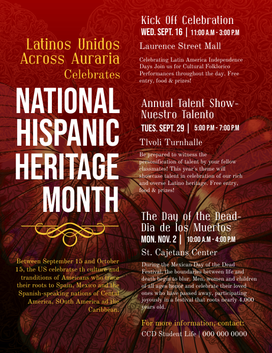 hispanic heritage month detailed information flyer template