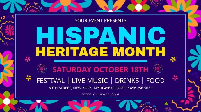 Hispanic Heritage Month Digital Signage Blue Digitale display (16:9) template