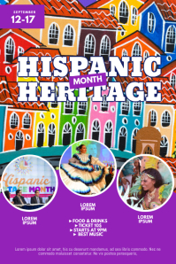 Hispanic Heritage Month Event Flyer Design Poster template