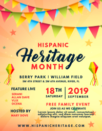 Hispanic Heritage Month Event Invite Flyer template
