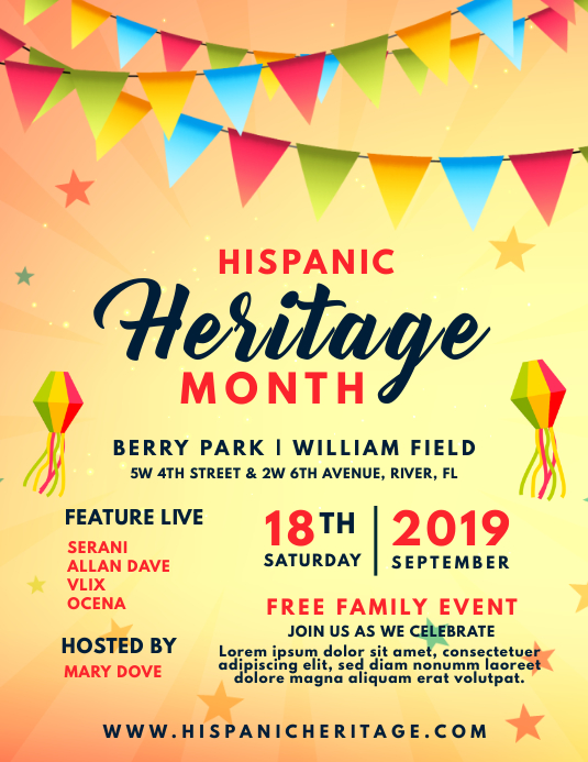 Hispanic Heritage Month Event Invite Flyer