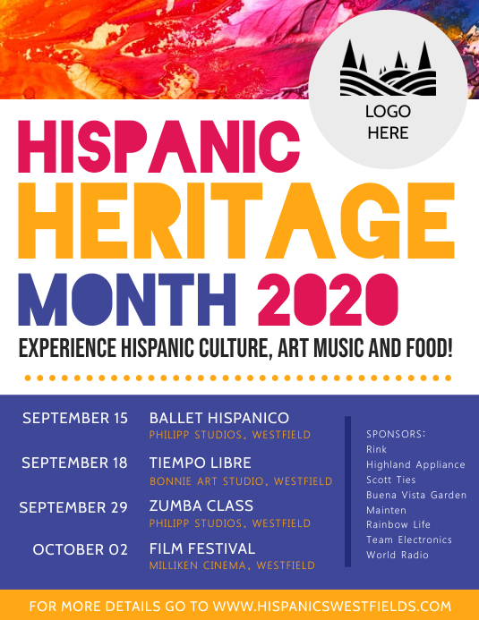 Hispanic Heritage Month Event Schedule Poster Template