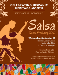 Hispanic Heritage Month Salsa Poster Template Flyer (US Letter)
