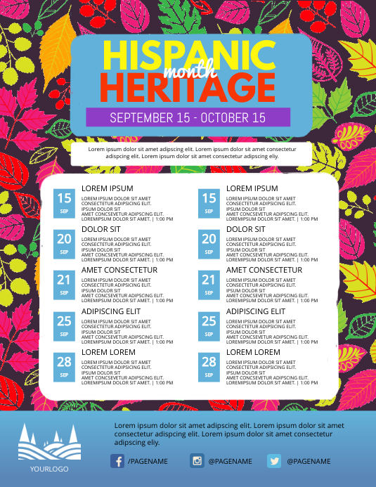Hispanic Heritage Month Schedule Event Flyer