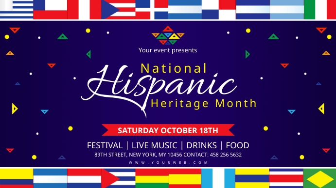 Hispanic Heritage month signage with flags template