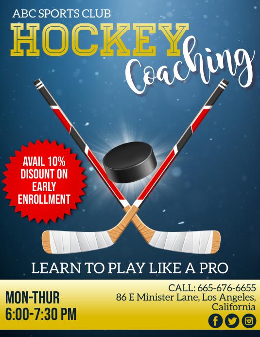 Hockey, Ice Hockey Flyer (US Letter) template