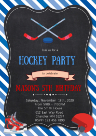 Hockey birthday party invitation