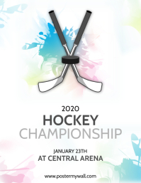 Hockey Championship Flyer Design Template Pamflet (Letter AS)