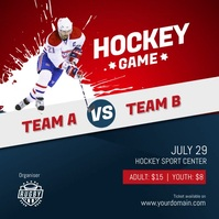 Hockey Game Flyer Poster Intagram Template