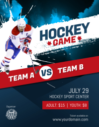 Hockey Game Flyer Poster Template Pamflet (Letter AS)