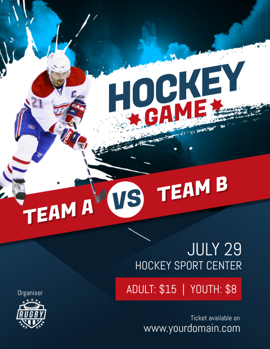 hockey game flyer poster template