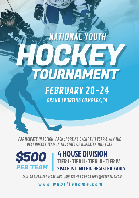 Hockey Tournament Flyer A4 template