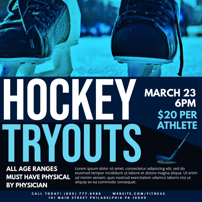 Hockey tryouts Wpis na Instagrama template