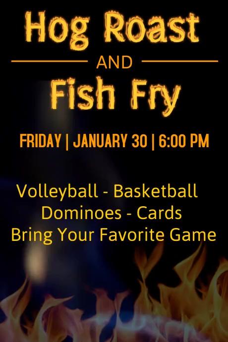 Hog Roast & Fish Fry Poster template