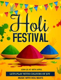 Holi, Diwali, festival of colors Flyer (US Letter) template