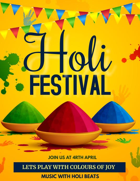 Holi, Diwali, festival of colors Flyer (format US Letter) template