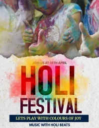 Holi, Diwali, festival of colors Volante (Carta US) template