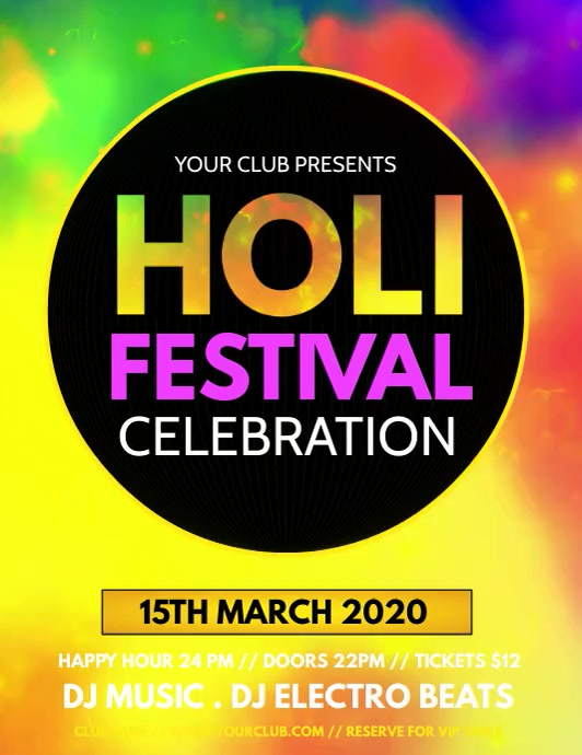 holi, diwali, holi festival, holi video Pamflet (VSA Brief) template