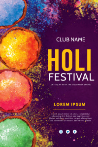 Holi, festival of colors Cartaz template