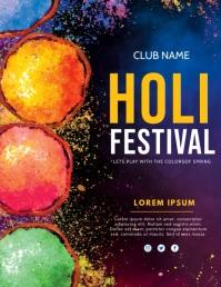 holi,festival of colours Flyer (US-Letter) template