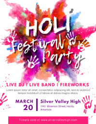 Holi Celebration Flyer Invitation template