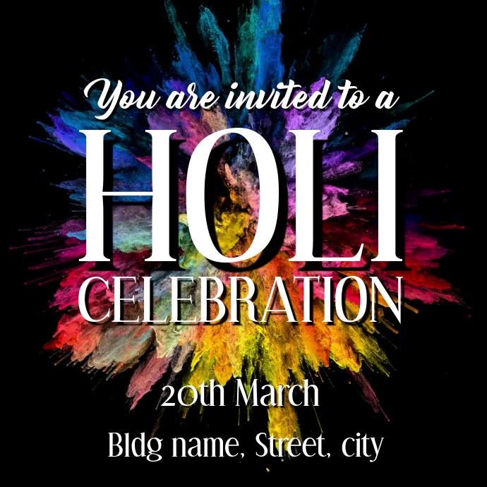 Holi celebration invite