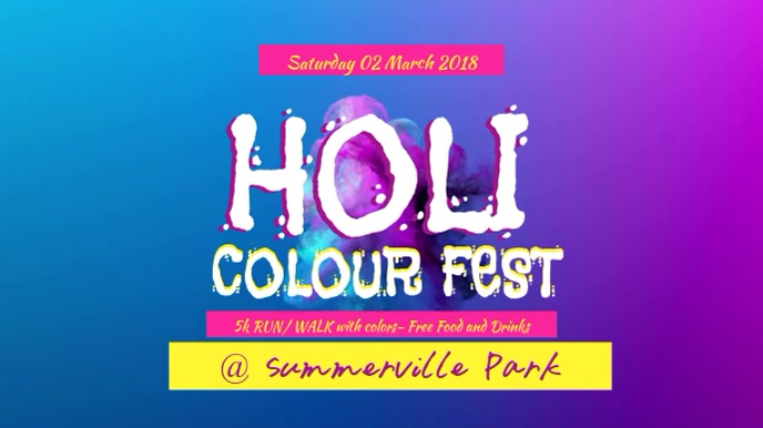 Holi Color Fest Video Template Tampilan Digital (16:9)