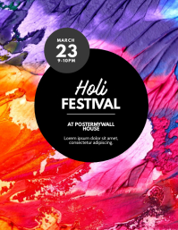 Holi Color Festival Flyer Design Template