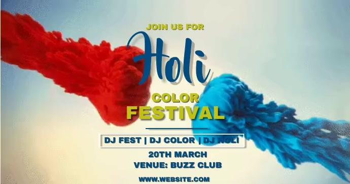Holi festival Facebook Shared Image template