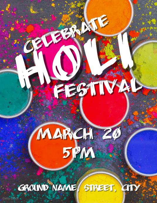 Holi festival Flyer (US-Letter) template