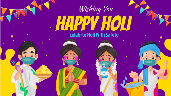 holi flyer Facebook Cover Video (16:9) template
