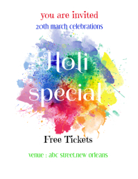 holi flyers template,holi party poster,flyer