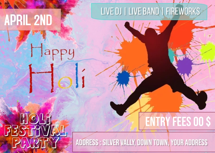 Holi party Briefkaart template