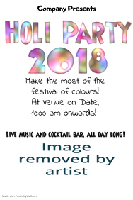 Holi Party Invitation Template